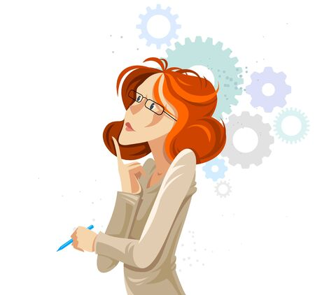 Business woman with gear cogs system vector cartoon illustration isolated on white, thinking and analyzing lady manager boss, smart attractive female.