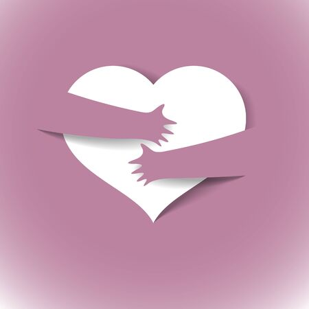 Heart and hands hugging love you vector concept, loving hands, adore passion and care stylish illustration.