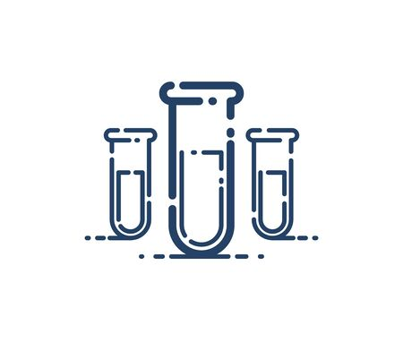 Test tube vector simple linear icon, science chemistry and medicine analysis line art symbol, laboratory research. 向量圖像