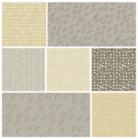 Seamless linear vector geometric minimalistic patterns set, abstract lines tiling backgrounds, stripy weaving, optical maze, twisted stripes. 向量圖像