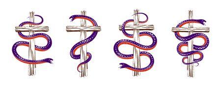 Snake wraps around Christian cross, the struggle between good and evil, saint and sinner, love and hate, life and death symbolic Vektoros illusztráció