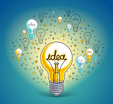 Shining light bulb and set of icons, business idea creative concept, e-commerce allegory, internet business, marketplace or online shop, vector illustration. Vettoriali