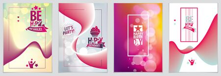 Birthday vector design for greeting card. Includes lettering composition and balloons combined with wavy fluid colorful shape abstract backgrounds collection. A4 format with CMYK colors acceptable for print.