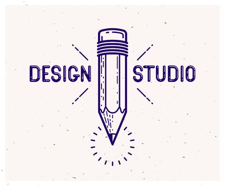 Pencil vector simple trendy logo or icon for designer or studio, creative design, education, science knowledge and research, linear style.