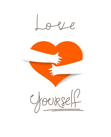 Heart and hands hugging love yourself vector concept, loving hands, adore passion and care stylish illustration.