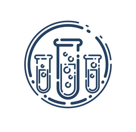 Test tube vector simple linear icon, science chemistry and medicine analysis line art symbol, laboratory research. Illusztráció