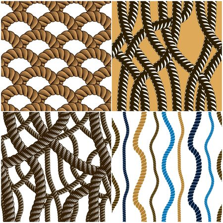 Seamless patterns rope woven vectors set, abstract illustrative backgrounds collection. Endless navy illustrations with fishing net ornament and marine knots. Usable for fabric, wallpaper, wrapping, web and print.