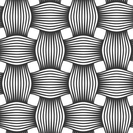 Motif de tissage vectorielle continue, fond linéaire avec des lignes croisées, papier peint de carrelage répété tricoté en textile, design minimal simpliste parfait. Vecteurs