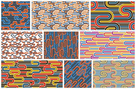 Stripy vector seamless patterns with woven lines, geometric abstract backgrounds set, stripy net, optical maze, web network.