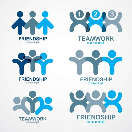 Teamwork businessman unity and cooperation concepts created with simple geometric elements as a people crews. Vector icons or logos set. Friendship dream team, united crew blue designs. ЛОГОТИПЫ