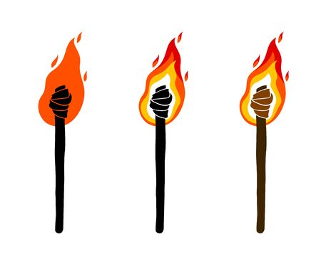 Torch vector illustration, Prometheus, flames of fire, bring the light to the dark, conceptual allegory art. Çizim