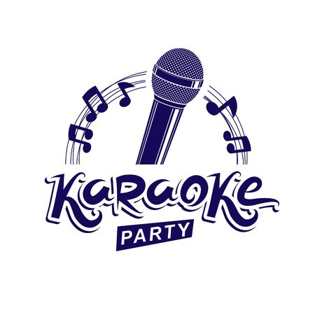 Karaoke party invitation poster, live music vector concert advertising leaflet composed using stage or recorder microphone and musical notes. Standard-Bild - 139720853