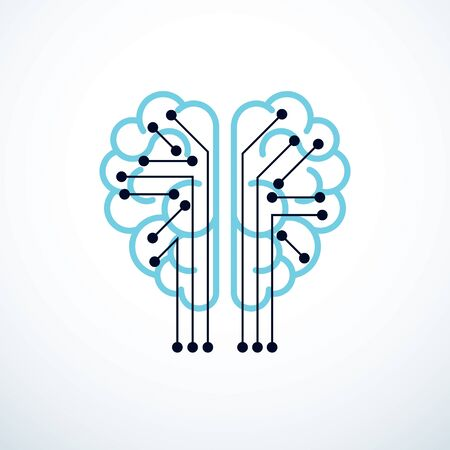 Artificial intelligence concept vector logo design, digital mind and smartness. Human anatomical brain inside of light bulb with electronics technology elements icon. Smart software, futuristic idea.
