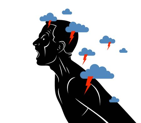 Anger, aggression and psychosis mental health and high anxiety vector conceptual illustration or logo visualized by man face profile shouting and screaming, dark clouds over his head.