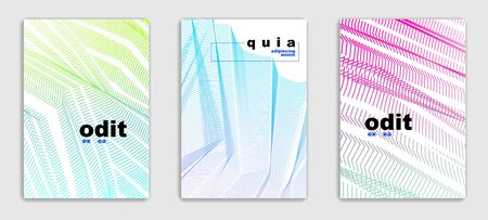 Abstract line art vector minimal contemporary brochure designs set, cover templates, geometric halftone gradient. For Banners, Placards, Posters, Flyers. Beautiful and special, pattern texture.