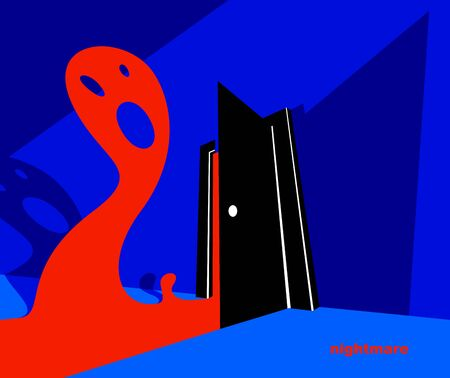 Nightmare monster comes into dark room bedroom vector stylish illustration, funny cartoon ghost creature frightening looking inside, horror theme drawing.