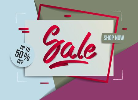 Sale flyer template with lettering, poster, card, banner, advertising design, moderate colors vector modern style cartoon paper cut 3d illustration. Standard-Bild - 139723840