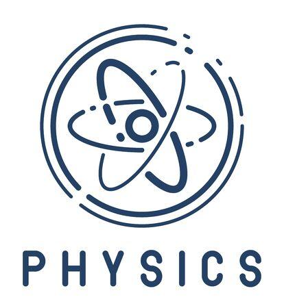 Atom vector simple linear icon, science physics line art symbol, research and solutions. Vektoros illusztráció
