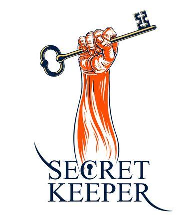 Mano in mano con grande chiave in mano vintage, logo vettoriale o segno simbolizzato tenuto segreto, protezione dei dati personali, sicurezza Internet antivirus.