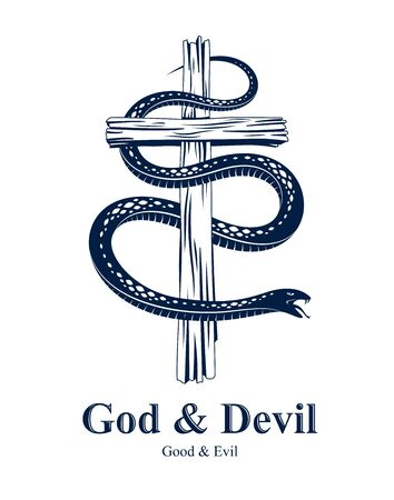 Serpent on a Cross vintage tattoo, snake wraps around Christian cross, God and Devil allegory, the struggle between good and evil, symbolic vector illustration logo or emblem. Illusztráció