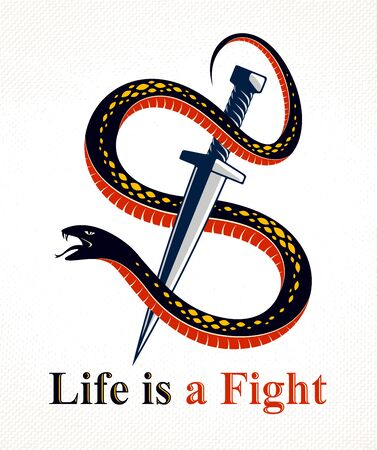 Dagger kills a Snake, defeated Serpent wraps around a sword vector vintage tattoo, Life is a Fight concept, life is no bed of roses, allegorical logo or emblem of ancient symbol. Illusztráció
