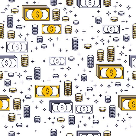 Financial icon set seamless background, backdrop for financial website or economical theme ads and information, dollar currency money signs, vector wallpaper or web site background.