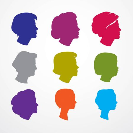 Woman face profiles of different age categories, growing to adult from child to teenager and woman, maturation and getting old, periods and cycle of life. Vector simple icon or logo design. Illustration