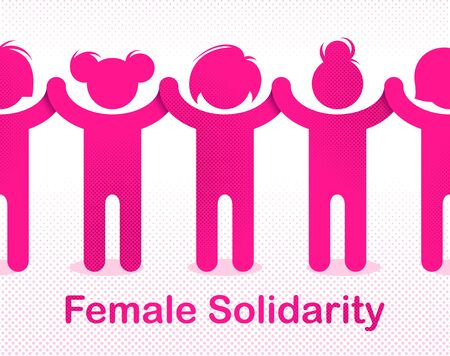 8 March women day international holiday, female solidarity concept, fight for rights tolerance and equality, feminism, girl power, group of protesting, vector illustration or icon. 矢量图像