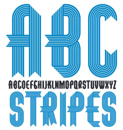 Vector trendy vintage capital English alphabet letters collection. Funky condensed bold font, typescript can be used in art creation. Created using stripy, parallel lines.