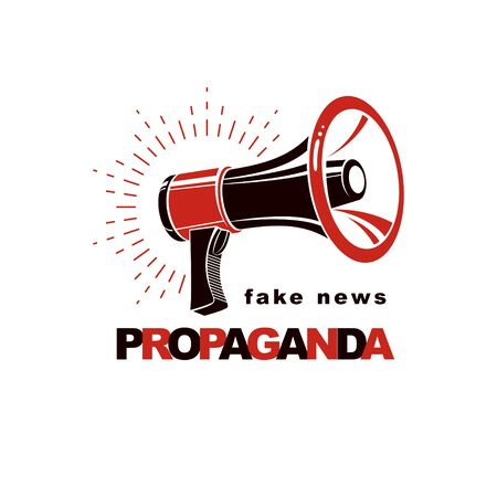 Loudspeaker vector logo isolated on white. Misleading and brainwashing information, fake news concept Иллюстрация