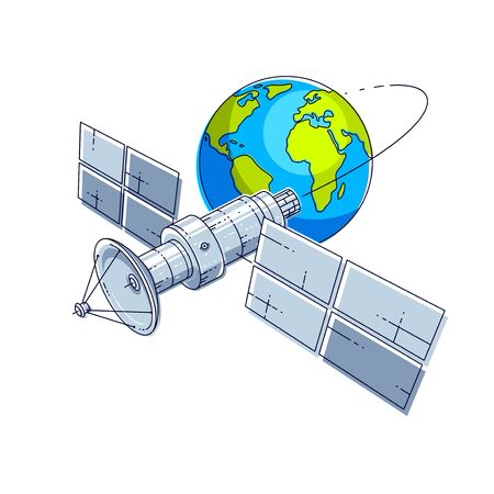 Satellite orbiting around earth, spaceflight, communication spacecraft space station with solar panels and satellite antenna plate. Thin line 3d vector illustration.