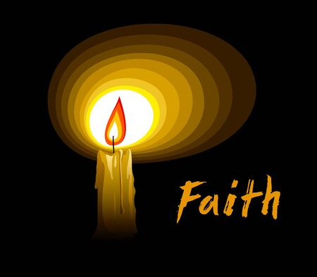 Flaming candle illuminates the dark symbolic vector illustration, concept of faith hope and belief.