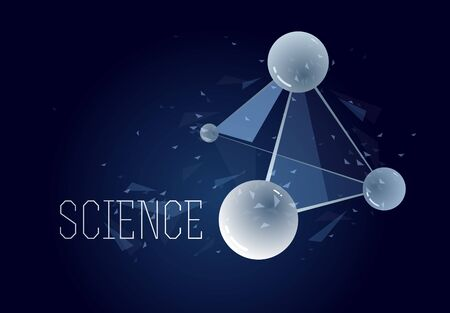 Molecules vector illustration, science chemistry and physics theme abstract background, micro and nano science and technology theme, atoms and microscopic particles.