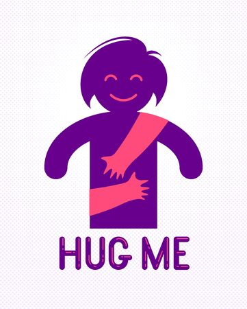 Beloved woman with care hands of a lover or friend hugging her around from behind, vector icon logo or illustration in simplistic symbolic style.
