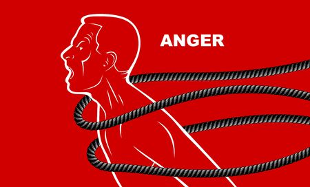 Shouting and screaming man trying to break the rope struggling for freedom, fight and liberate concept, liberty and human rights vector conceptual illustration.