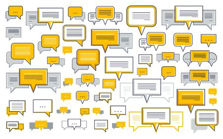 A lot of diversity speech bubbles vector set, different dialog signs geometric flat style, big set.