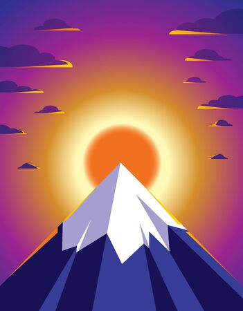 Beautiful mountain landscape with setting sun in the evening, sundown over peak scenic nature vector illustration, tranquil calm image for relaxing.