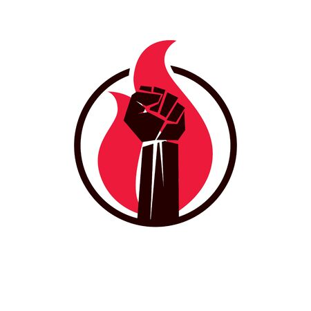 Vector illustration of clenched fist in the burning fire. Power and authority conceptual logo