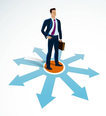 Doubting businessman choosing different directions which way to go vector illustration, business man have a dilemma because or different options or opportunities. 일러스트