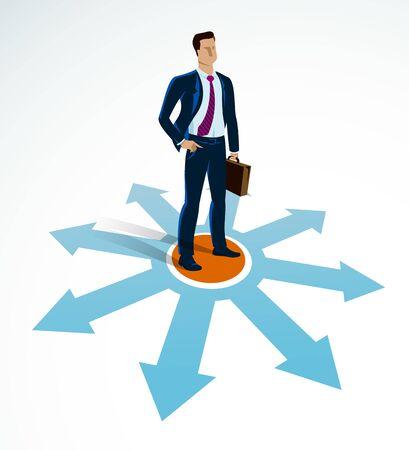 Zweifelhafter Geschäftsmann, der verschiedene Richtungen wählt, in welche Richtung die Vektorgrafik gehen soll, Geschäftsmann hat ein Dilemma, weil oder unterschiedliche Optionen oder Möglichkeiten.