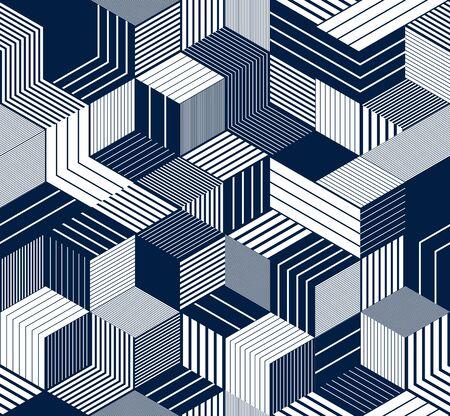 Bezszwowe tło wektor kostki, wyłożone pola powtarzające się wzór płytek, architektura 3D i budownictwo, geometryczny wzór.