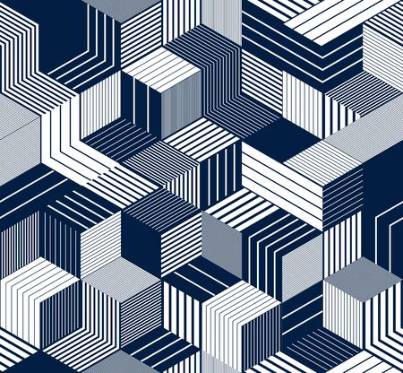 Seamless cubes vector background, lined boxes repeating tile pattern, 3D architecture and construction, geometric design.