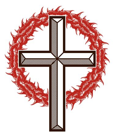 Christian cross with blackthorn thorn vector religion logo or tattoo, passion of the Christ. Ilustrace