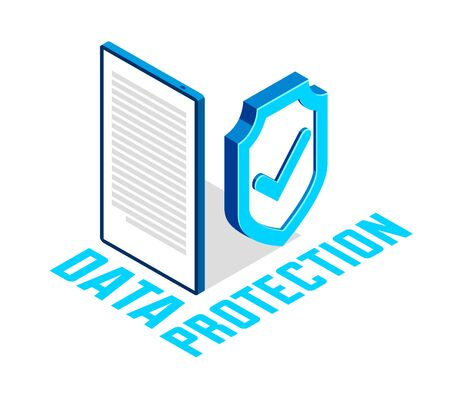 Electronic data protection and cyber security vector isometric conceptual illustration, isolated on white, mobile app antivirus internet fraud protection personal information.