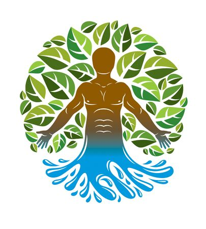 Vector graphic illustration of strong male, body silhouette standing in ocean wave and composed using green leaves. Raw food diet, no gm concept. 일러스트