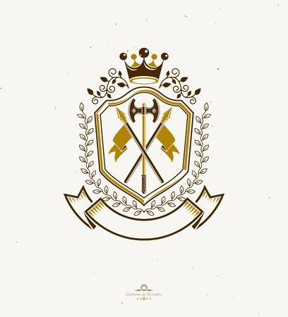 Heraldic coat of arms made in retro design, decorative emblem with imperial crown and armory