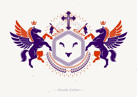 Vector emblem created in vintage heraldic design. Retro style label composed using mythic Pegasus, religious cross and lion head.
