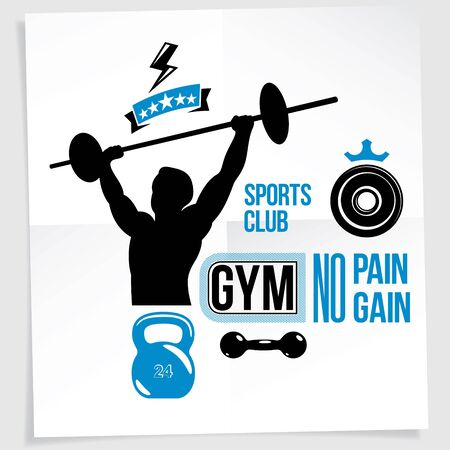 Gym vector advertising leaflet created with vector illustration of muscular bodybuilder holding barbell sport equipment. No pain, no gain quote. 일러스트