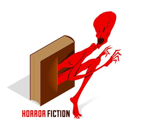 Horror fiction book with creepy creature monster getting out of the pages vector illustration 3d isometric, literature concept, thrilling reading concept.