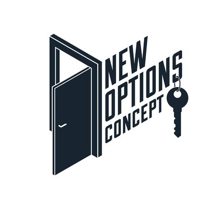 Half open door vector concept of new opportunities, step into future metaphor, start of new business or career, mysterious secret door allegory. Vecteurs